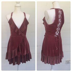 POL Velvet Mock Wrap Mini Party Dress